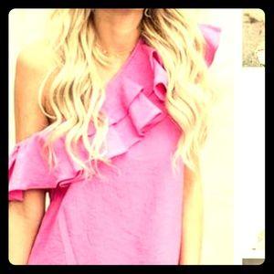 Tops - Pink off one shoulder top